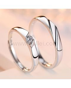 Expandable Simple Silver Couples Wedding Rings Set