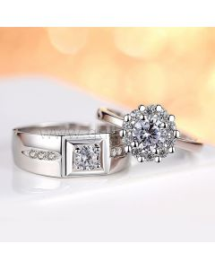 Adjustable Size Engagement Rings Set with Engraving Silver