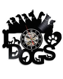 Best Christmas Gift for Dog Lovers Black Vinyl Recod Wall Clock
