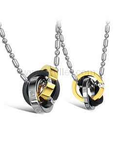 Necklaces for Two People Stainless Steel Set of 2