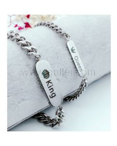 King and Queen Charm Couple Bracelets with Name