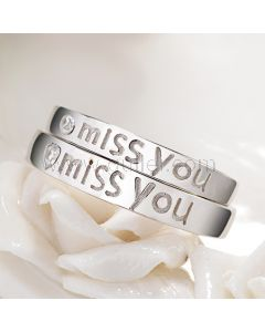 Miss You Long Distance Relationship Promise Rings Set