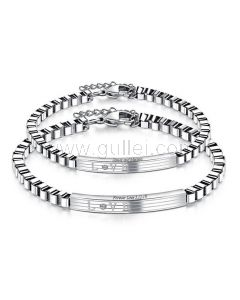 Engraved Couple Bracelets Gift for Him and Her