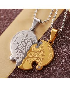 2PCS Custom Engraved Connecting Hearts Jewelry Gift