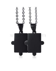 Front Engravable Jigsaw Puzzle Connecting Couples Jewelry Set