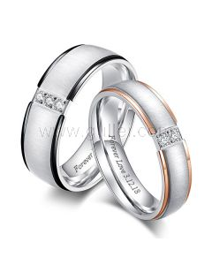 Titanium Engraved Wedding Rings for Him and Her