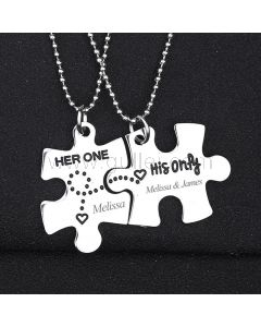 Her One His Only Puzzle Piece Couple Necklaces Christmas Gift