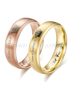 King and Queen Promise Rings Gift for Couples