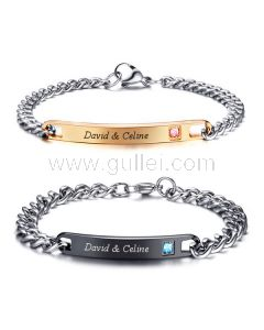Personalized His and Hers Bracelets Couple Jewelry Christmas Gift