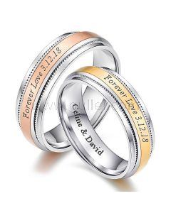 Cute Engraved Titanium Couple Wedding Bands for 2