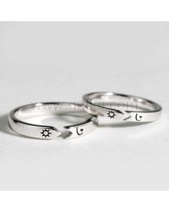 Engraved Moon Sun Adjustable Unisex Couples Rings