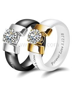 Personalized Ceramic Couple Wedding Bands Set for 2