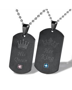 His Queen Her King Matching Couple Necklaces