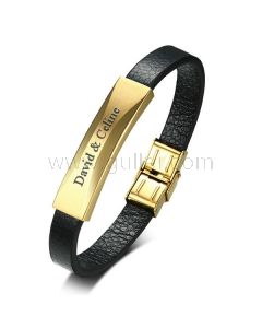 Personalized Love Leather Bracelet for Men Stainless Steel Gold