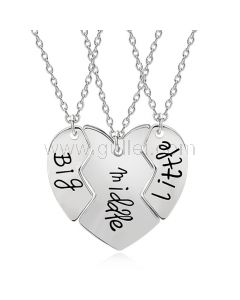 3 Piece Connecting Hearts Sisters Necklaces Set