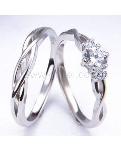 Expandable Matching Knots Silver Wedding Rings for 2