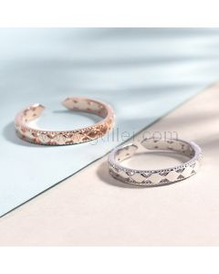 Adjustable Thick Knuckles Couples Silver Rings Set
