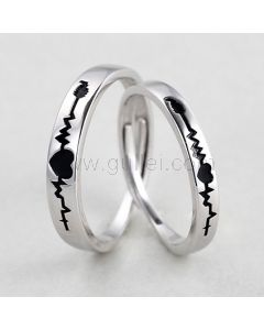 Heartbeat Adjustable Silver Rings with Names Engraved