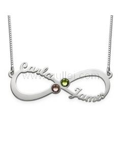 Birthstone Infinity Name Necklace Anniversary Gift for Her