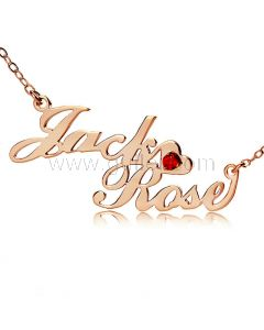 Customize Birthstone Necklace with Names