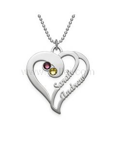 Personalized Birthstone Two Names Heart Necklace Gift