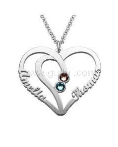 Personalized Birthstone 2 Names Heart Necklace Gift