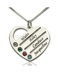 Personalized Birthstones Heart Family Name Necklace