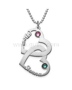 2 Hearts Birthstones Customize Name Necklace