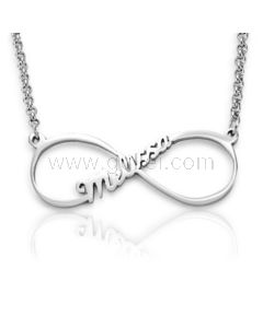 Infinity Sign Custom Name Silver Necklace