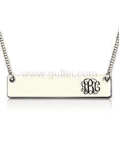 Monogram Name Plate Silver Necklace with Gold Plating