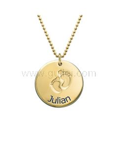 Baby Name Engraved Necklace Gift for Mother