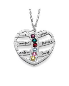 Personalized Family Names Birthstones Heart Pendant Gift for Mom