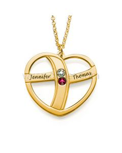 Birthstones Names Inscribed Gold Plated Heart Pendant