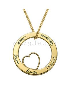Gold Plated Sterling Silver Names Engraved Heart Shaped Pendant