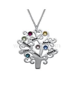 Birthstones Family Tree Gold Plated Pendant Xmas Gift