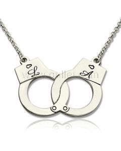 Initials Engraved Handcuffs Gold Plated Pendant Gift