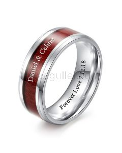 Personalized Promise Ring for Him 8mm Wood and Titanium