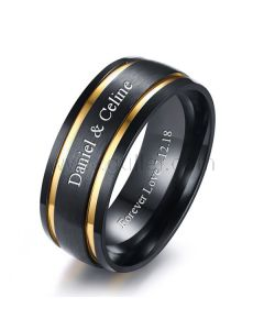 Personalized Promise Ring for Him 8mm Gold Plated Titanium