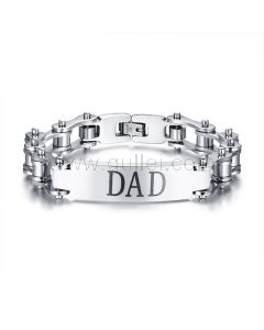 Customized Bike Chain Bracelet For Dad Stainless Steel