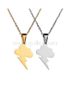 Thunder Bolt Couple Pendants with Engraving