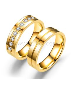 Gold Plated Anti-allergic Couples Promise Rings Set