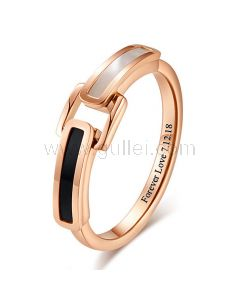 Personalized Promise Ring for Her 2mm Rose Gold Plated
