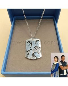 Photo Engraved Pendant Necklace Gift for Men