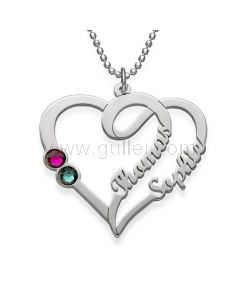 Personalized Birthstone Heart Name Necklace