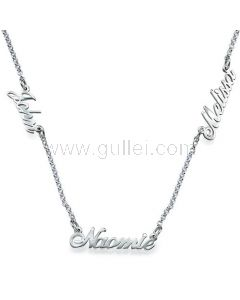 Personalized 3 Names Necklace Gold Plated Silver