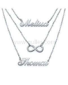 Custom Names Necklace Infinity Sign Sterling Silver