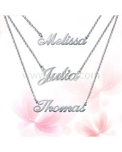 3 Chains Custom Name Sterling Silver Necklace