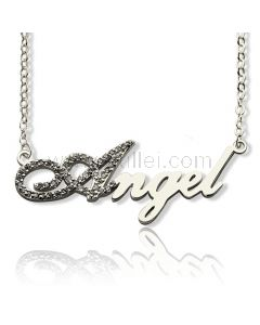 Name Necklace Gift for Her First Letter with Zircons