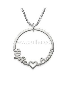 Custom Names Necklace Heart Gift for Lovers