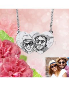 Photo Engraved Connected Hearts Necklace Valentines Gift